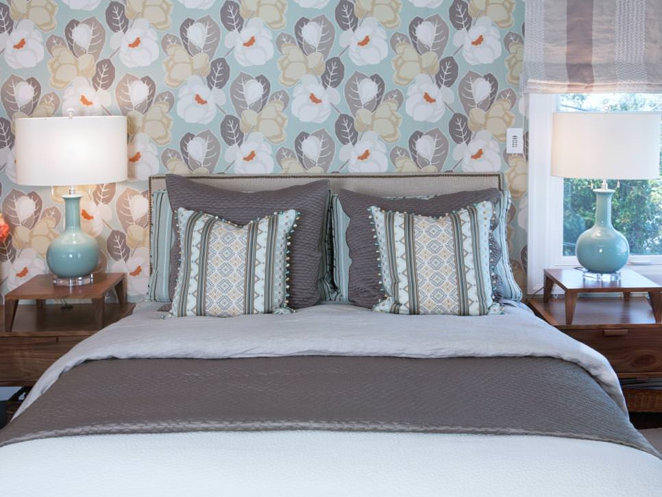 gray bedroom with floral wallpapered design