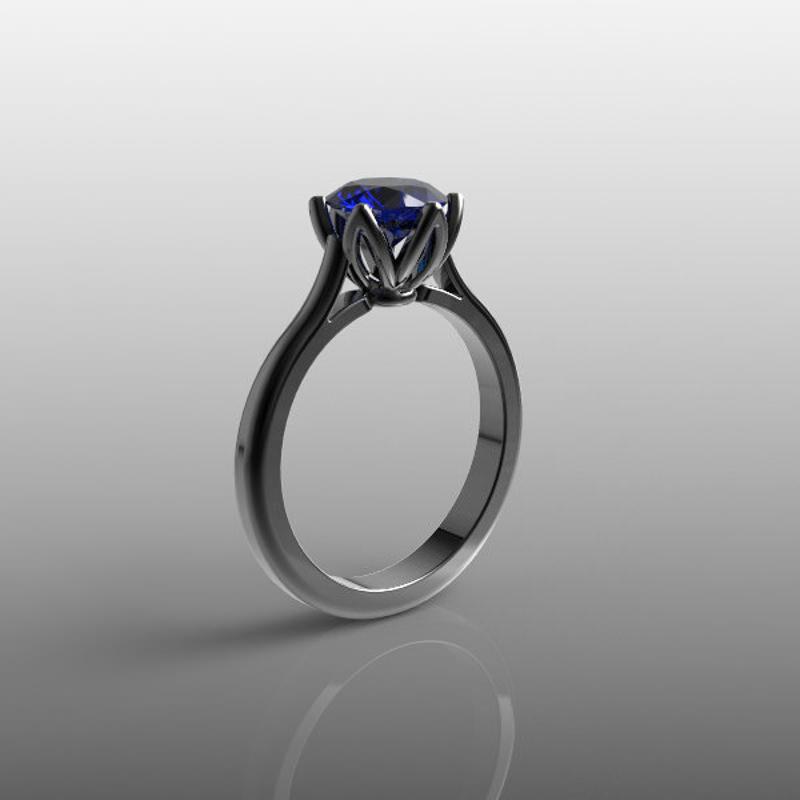 round blue sapphire ring