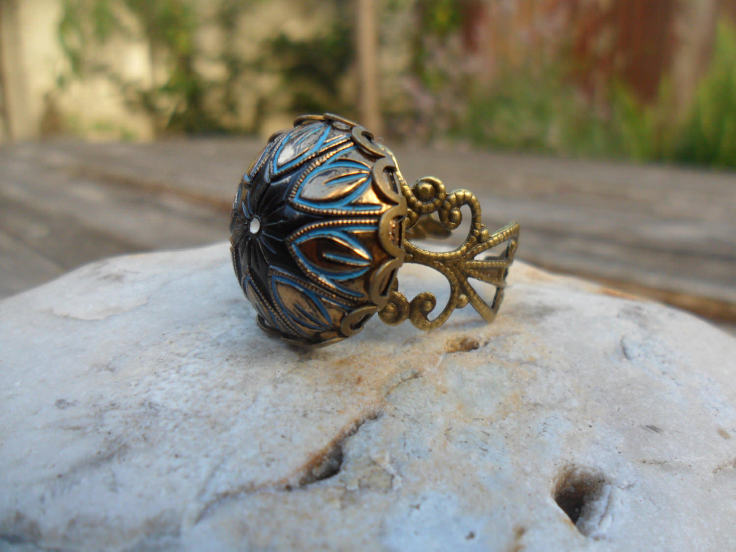 Mosaic Glass Antique Ring