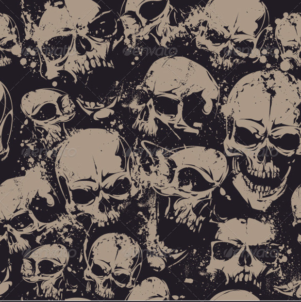 Seamless Pattern with Grunge Skulls