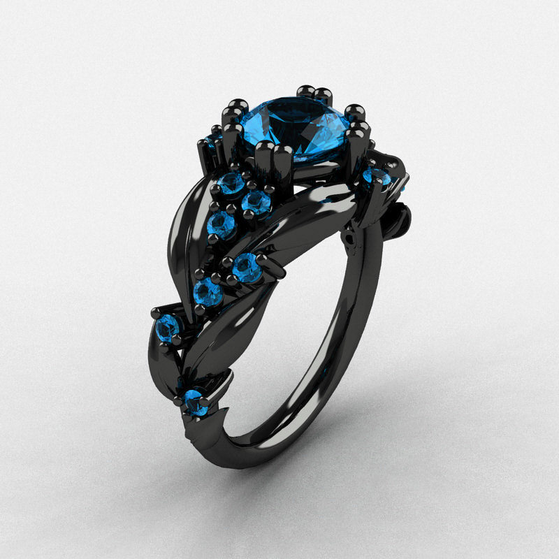 Blue Topez Leaf Ring
