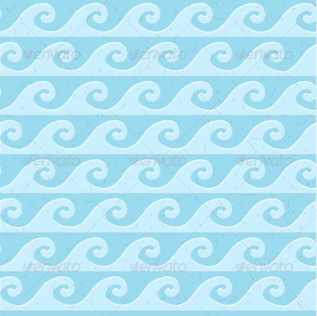 Blue Waves Grunge Seamless Pattern
