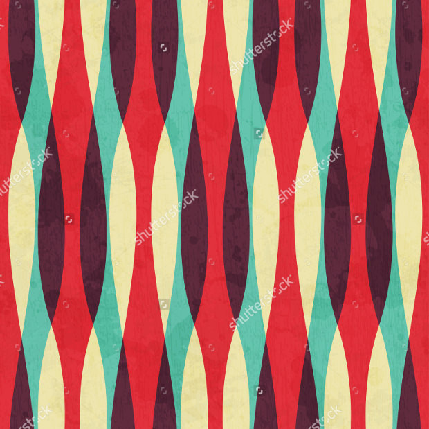 Retro Curves Seamless Pattern of Grunge