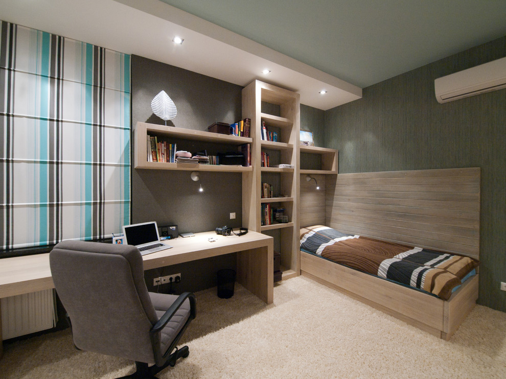 Contemporary Gray Home Office Idea