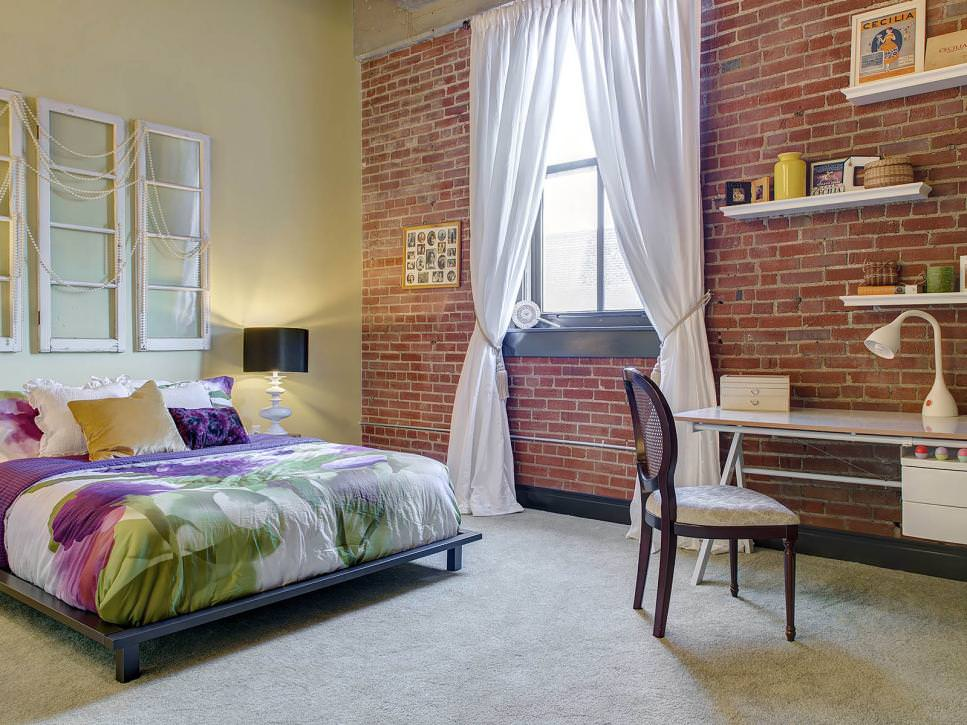 Exposed Brick Wall in Urban Loft Bedroom