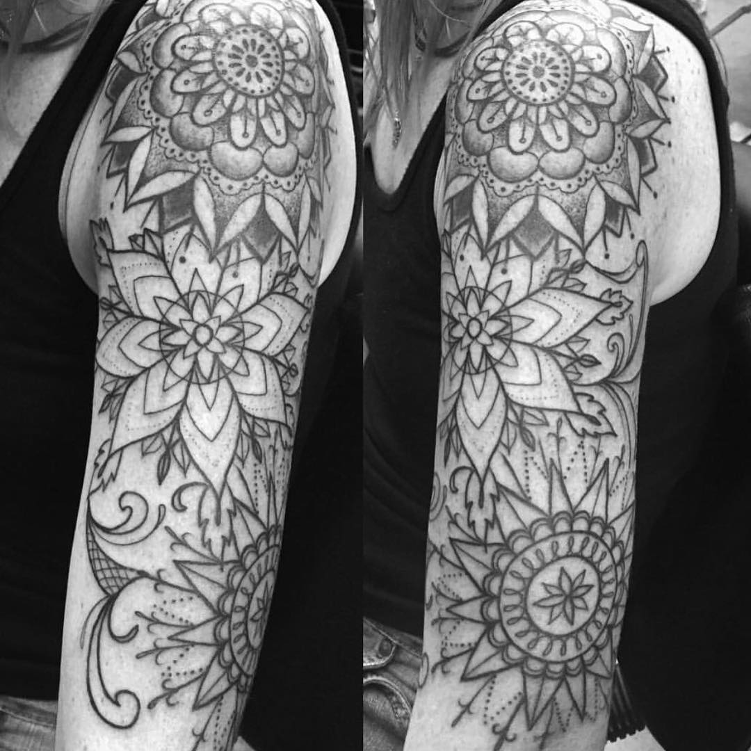 tribal floral tattoo