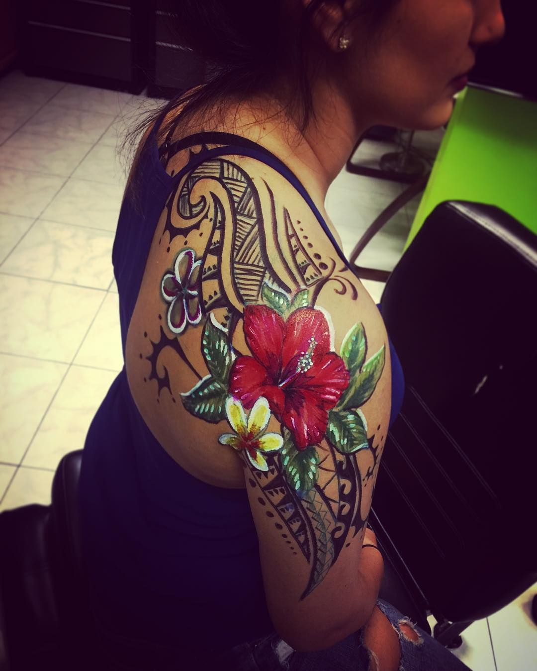 colorful hibiscus tattoo