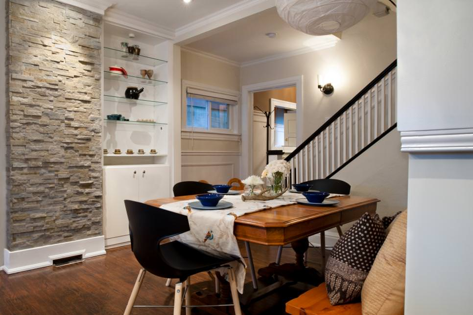 Dining Room with Stone Focal Wall design