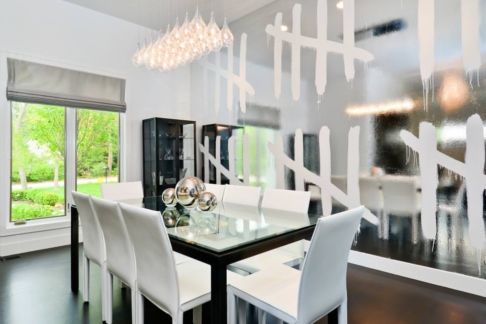 White Modern Dining Room With Silver Accent Wall