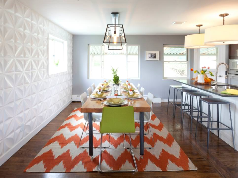 Modern Dining Room with White Geometric wall design