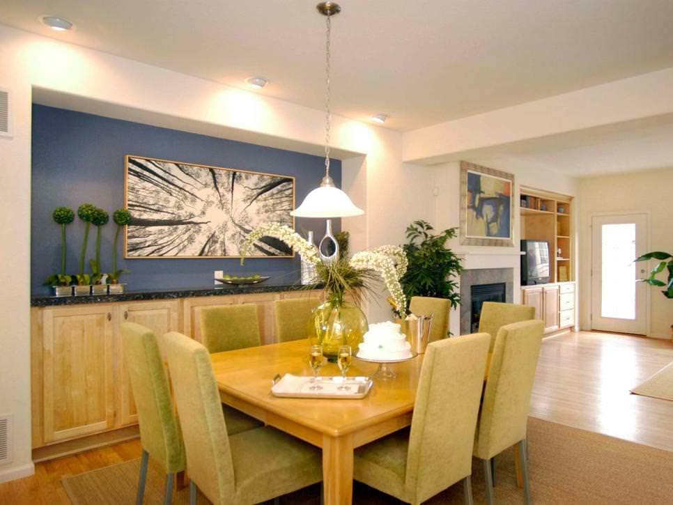Dining Room with Vibrant Blue Accent Wall
