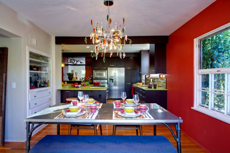 Red accent wall dining room