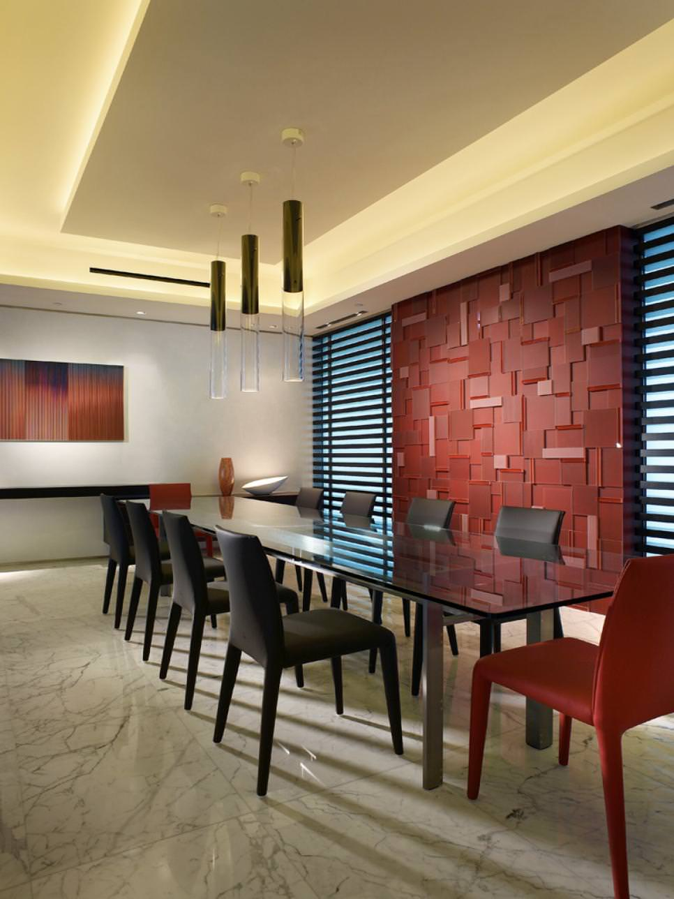Modern Dining Room With Red Glass Feature Wall