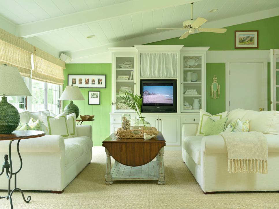 green cottage living room design