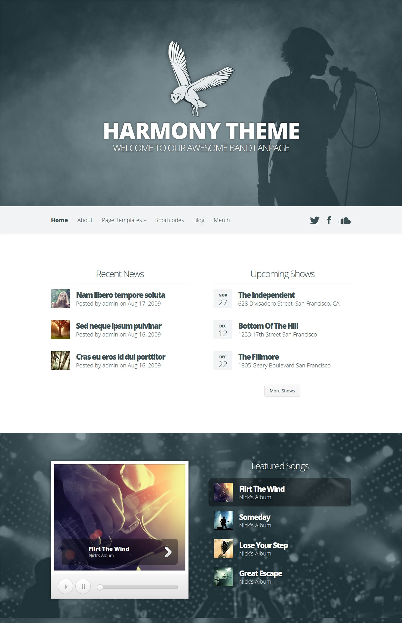 Music Band WordPress Theme - $69