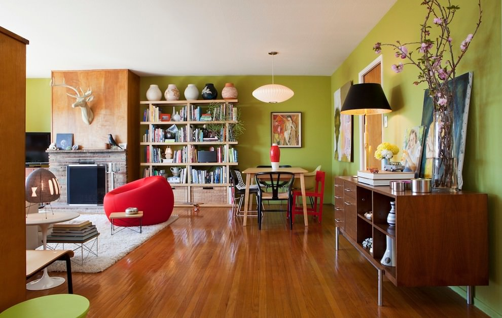 eclectic lime green living room design