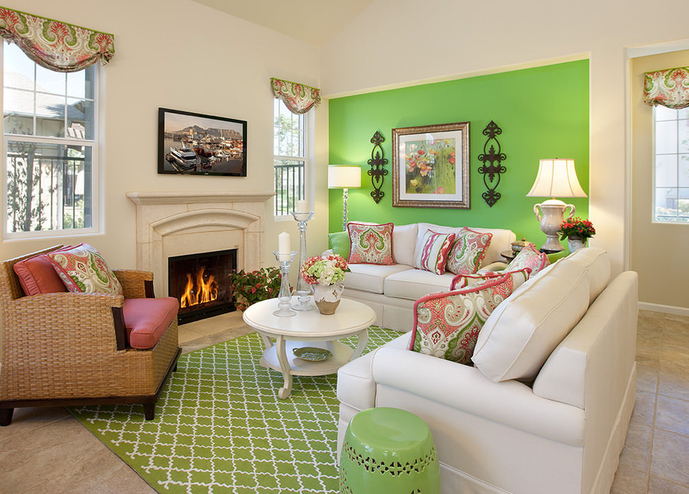 23 green wall designs decor ideas for living room for Color designs for living room