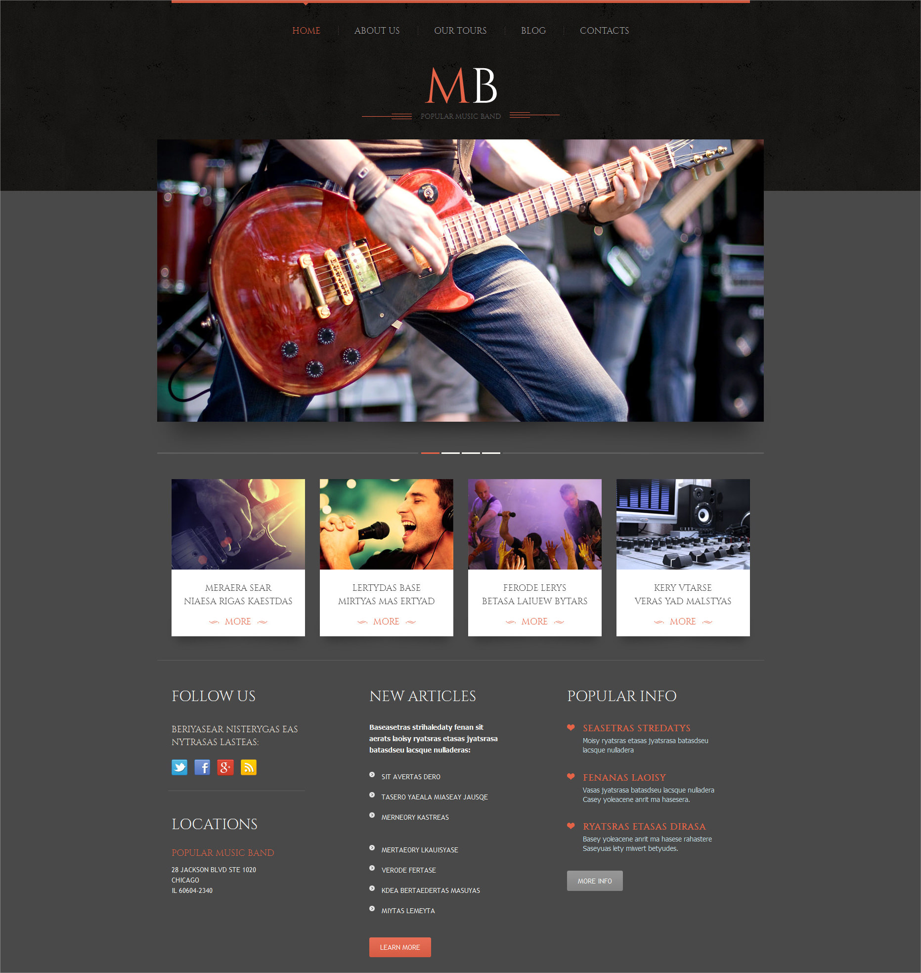 Music Band Responsive WordPress Theme - $75