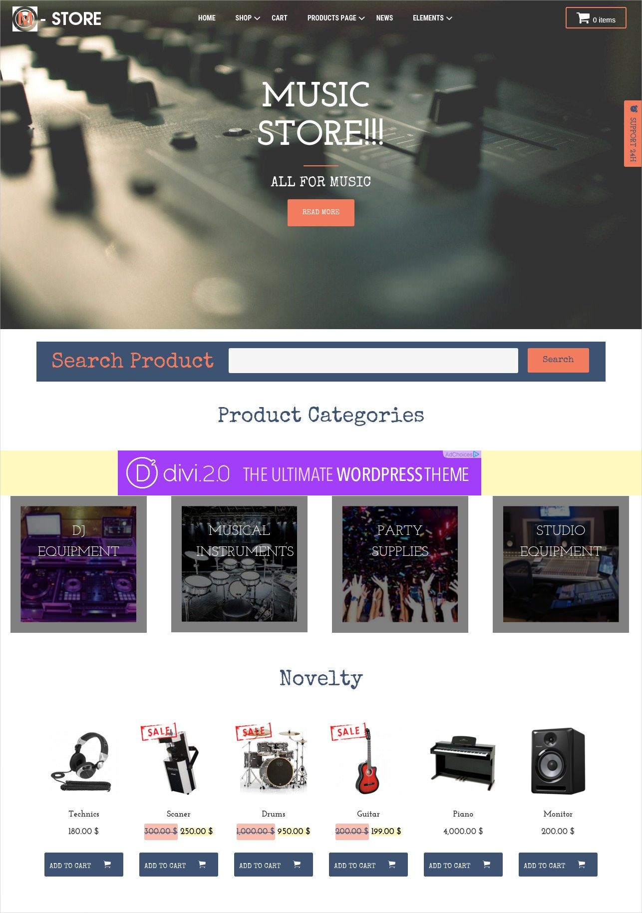Music Store WordPress Theme - $39