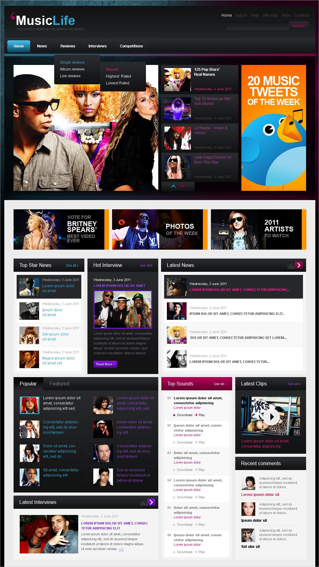 Music Blog WordPress Theme - $70