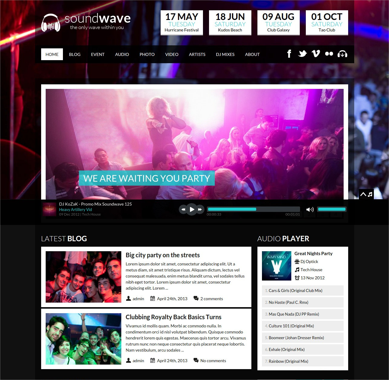 Music Vibe WordPress Theme - $49
