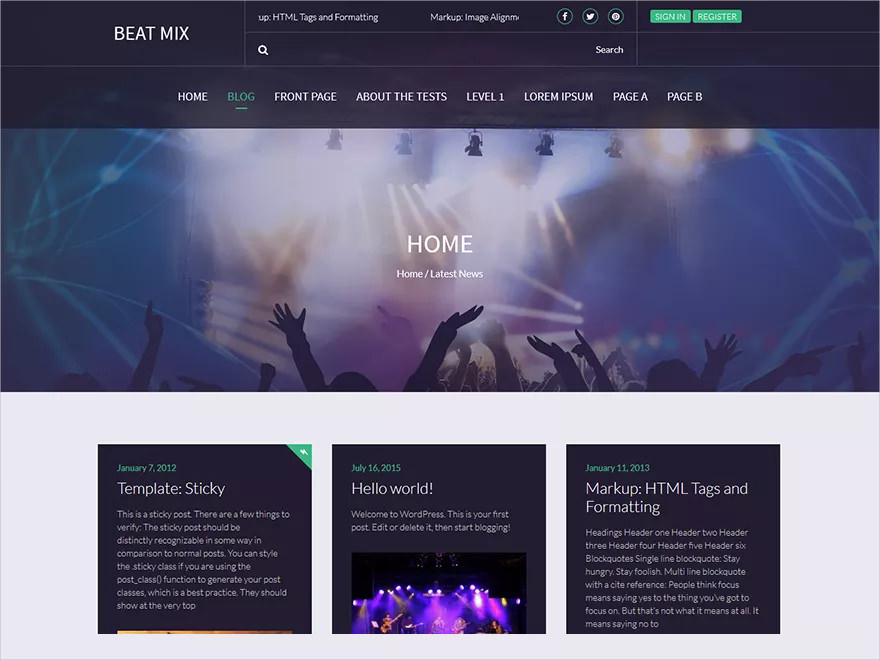 Beat Mix WordPress Music Theme - Free