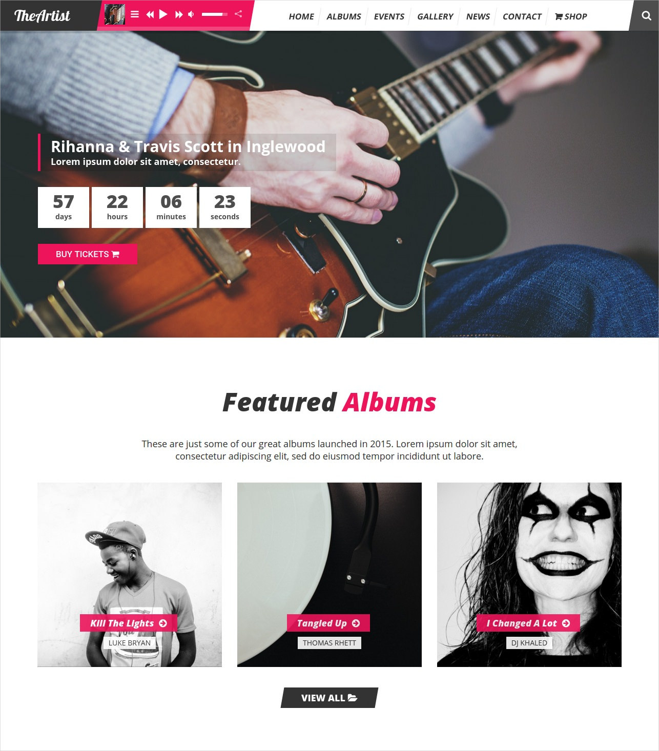 Artist Band Music WordPress Theme - $59