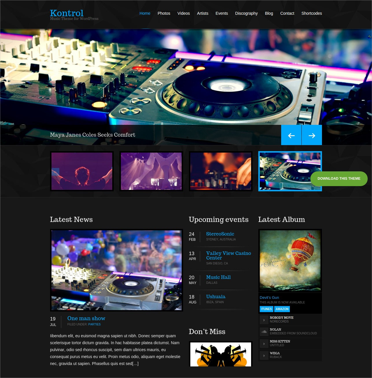 WordPress Theme for DJs & Music Artists - $49