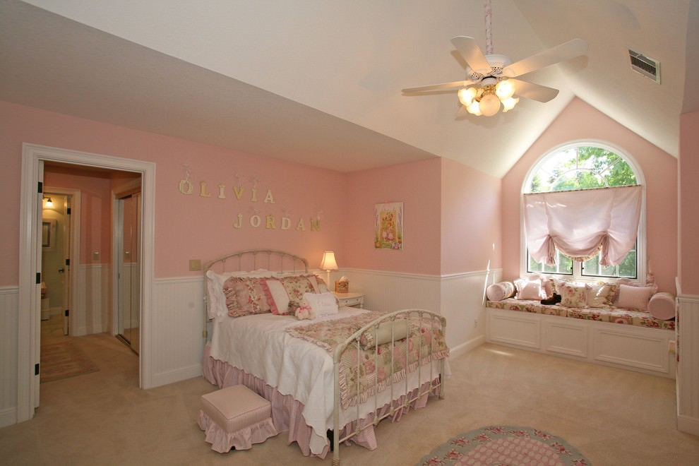 Dreamy kids Pink and White Wall Design