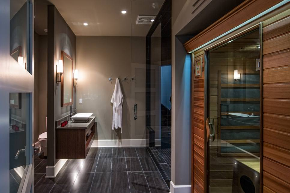 Contemporary Spa Bath With wooden walls design