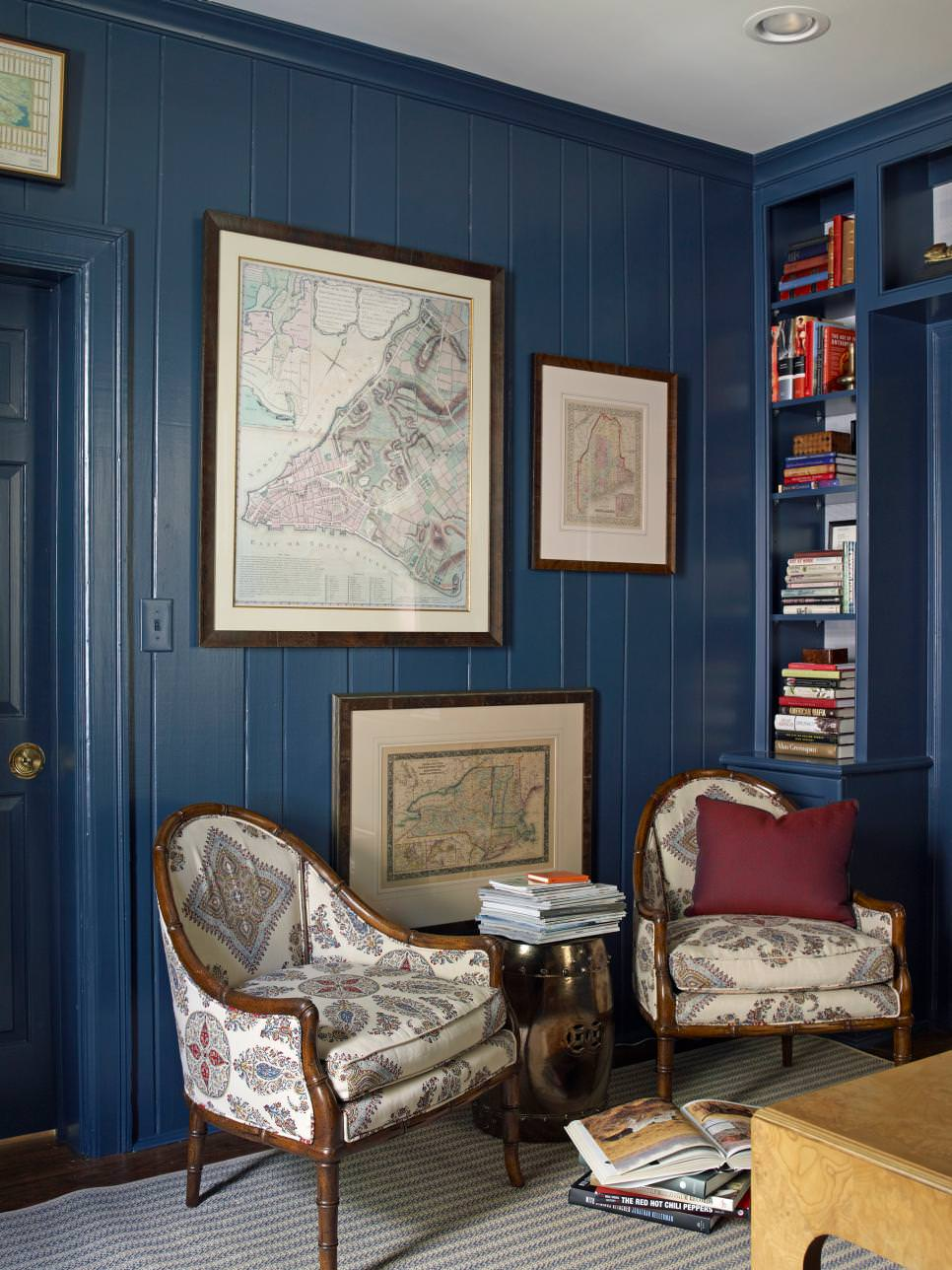 Navy Sitting Room With wooden walls design