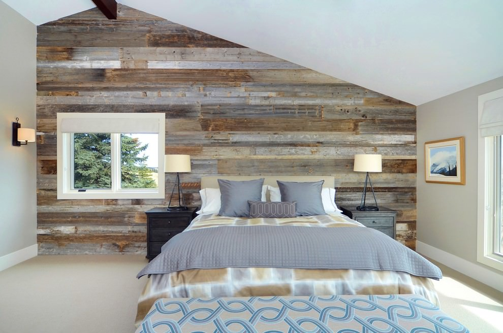 Contemporary bedroom with waooden wall design