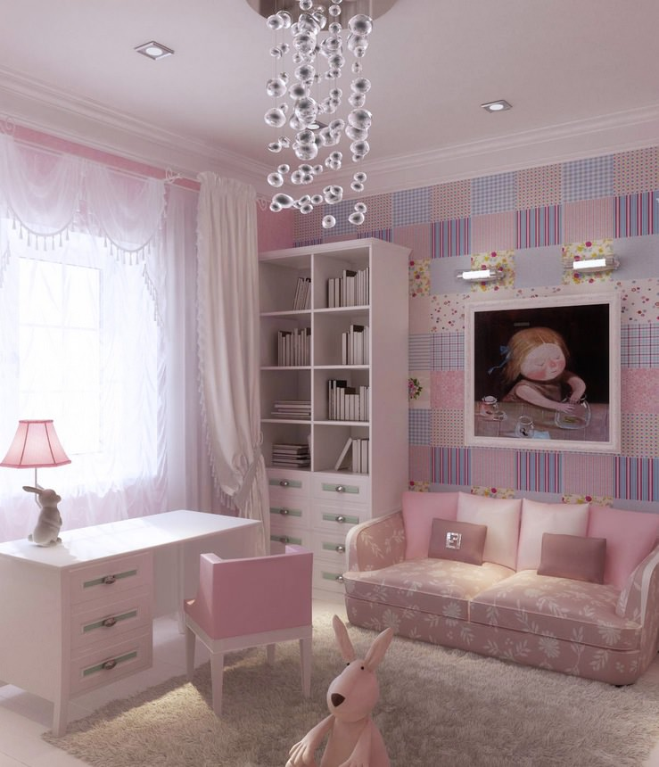 Stripped Pink and White Wall Design