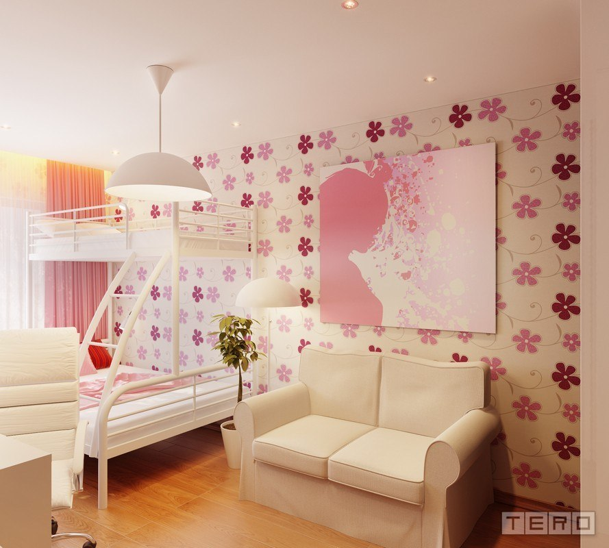 Floral Pink and White Wall Design