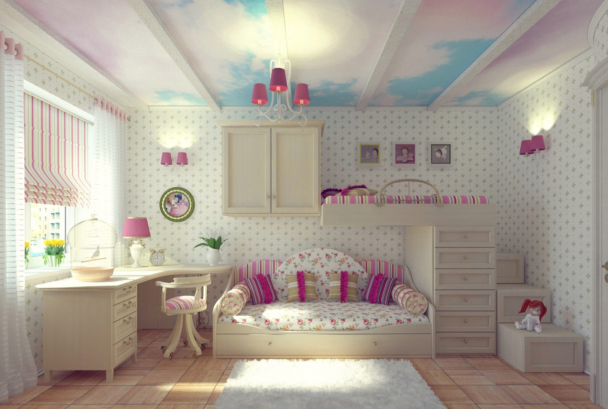 Dreamy Pink and White Wall Design