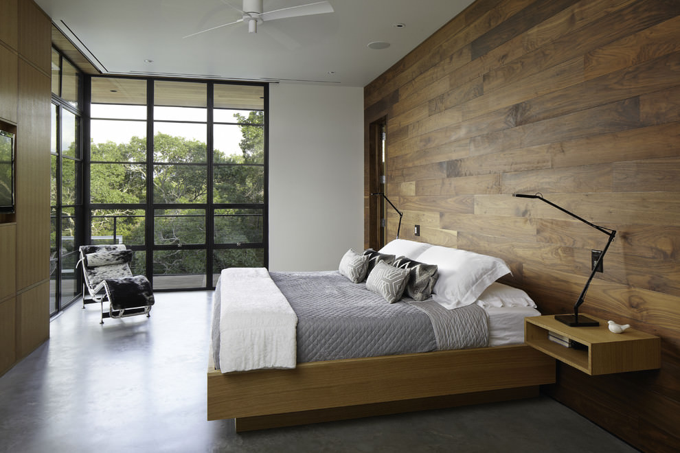 Modern bedroom with wooden wall design