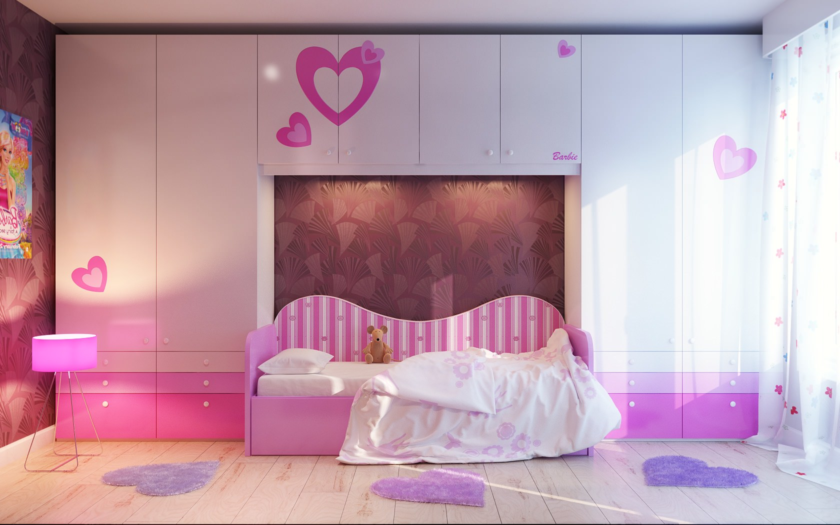 Girly Pink and White Wall Design
