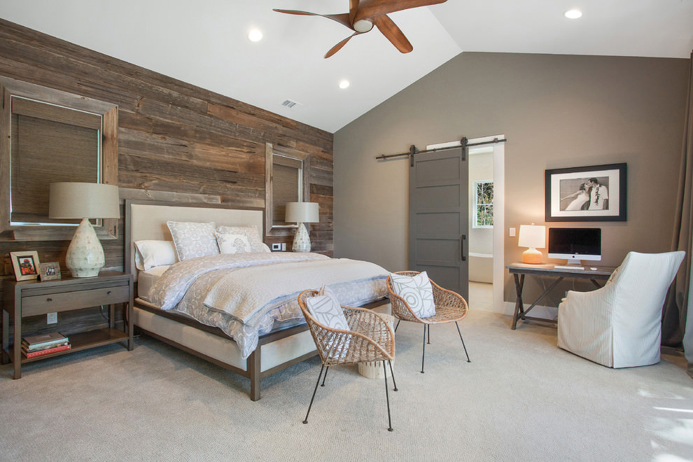 Farmhouse bedroom with rustic wooden wall design