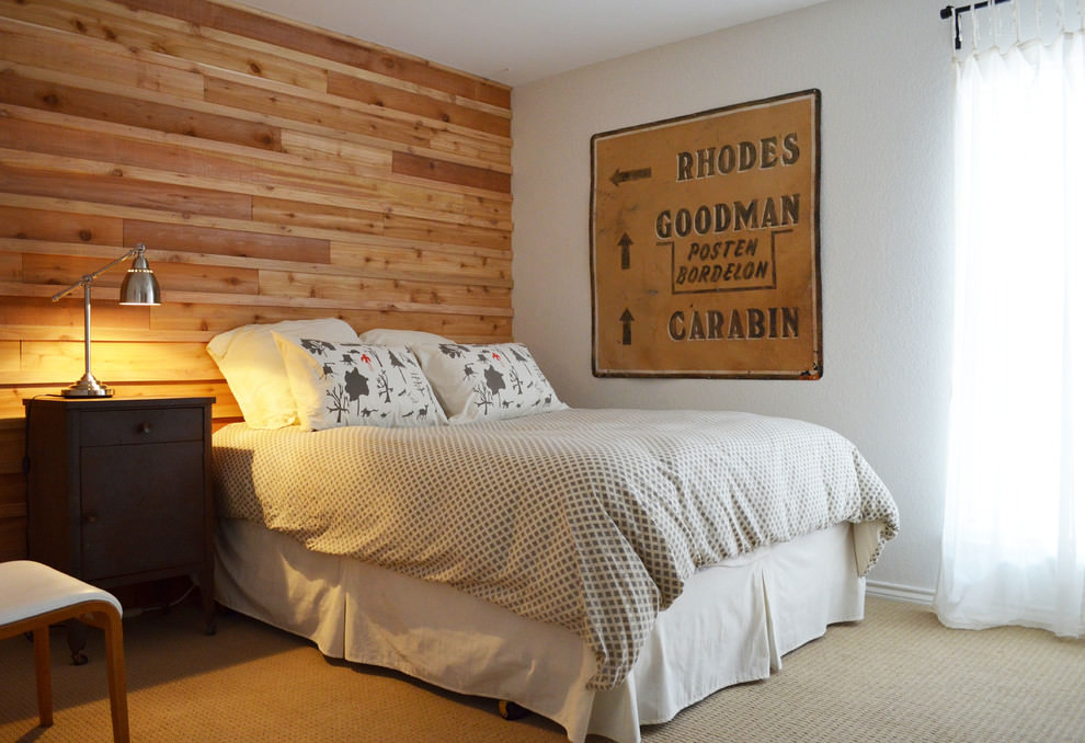 Electric bedroom with rustic wooden wall design
