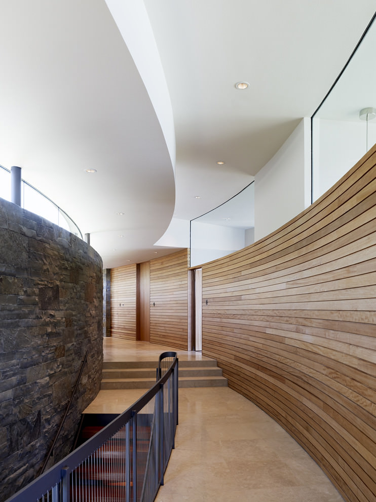 modern hall with wooden wall design