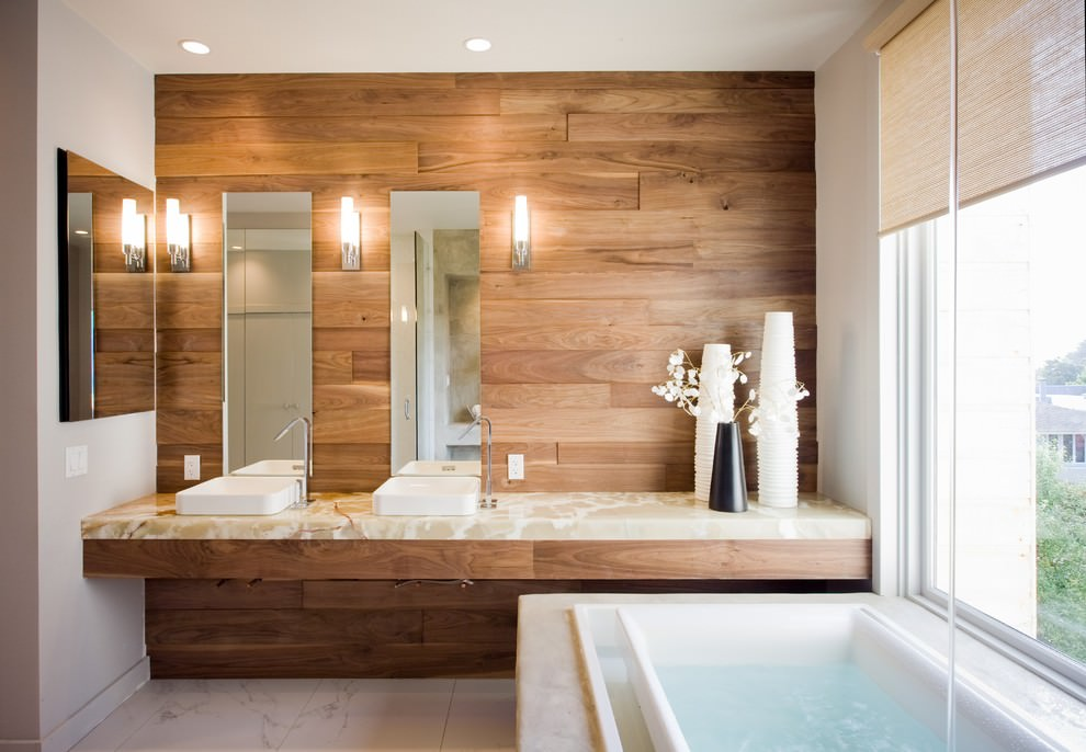 contemporary bathroom with brown wooden wall design - Wood Wall Design Ideas