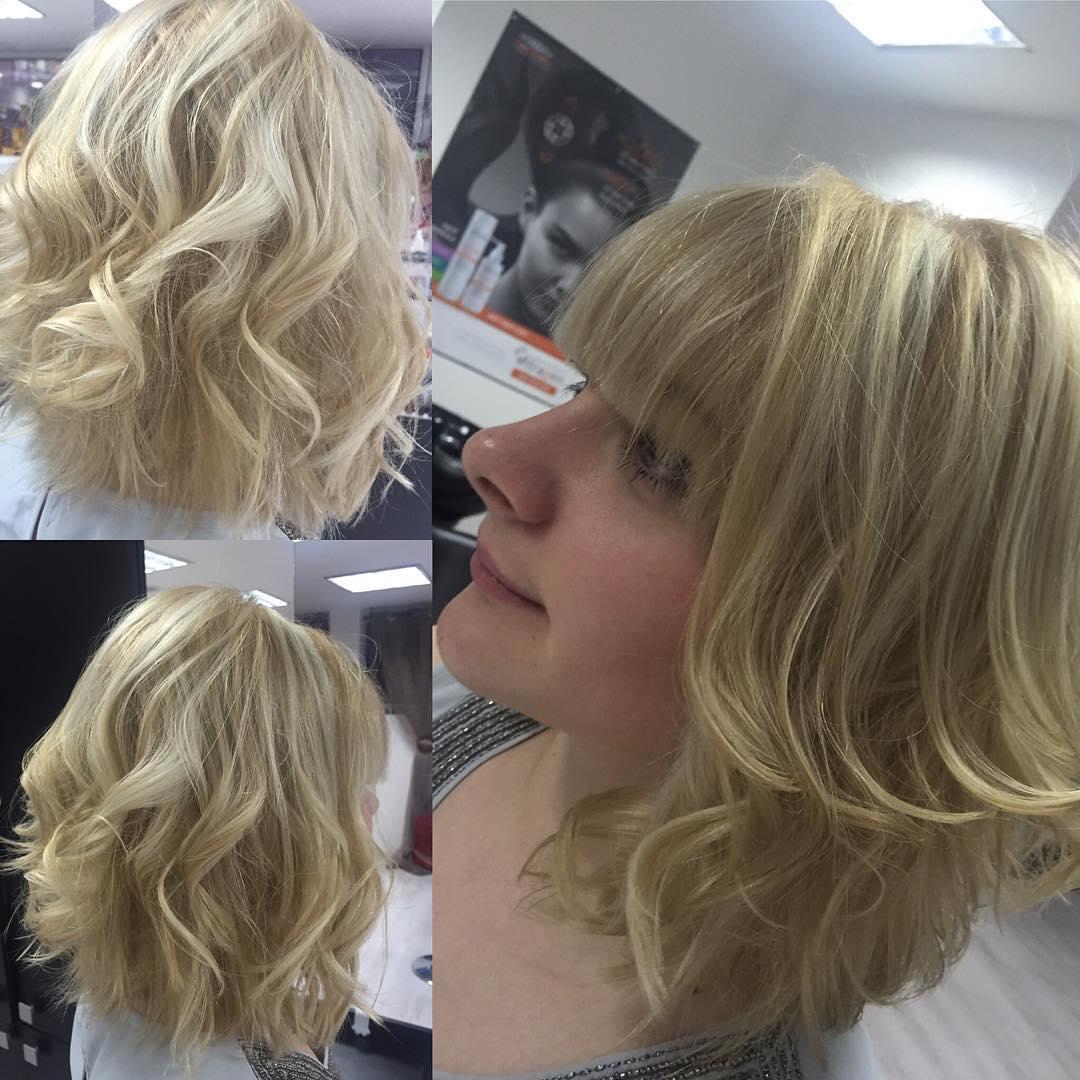 Layered blonde Bob Cut