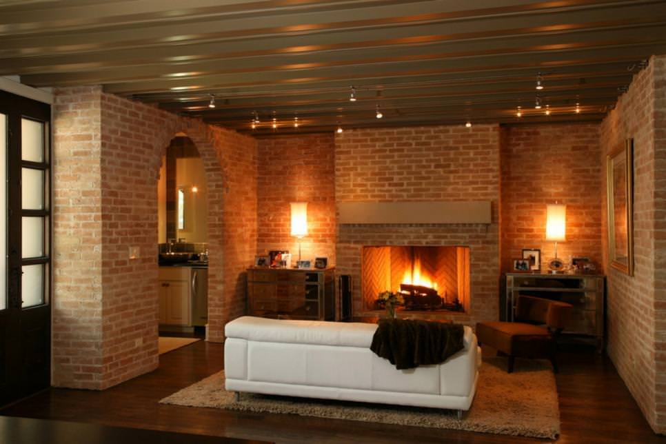 25 brick wall designs decor ideas for living room - Modern fireplace living room design ...