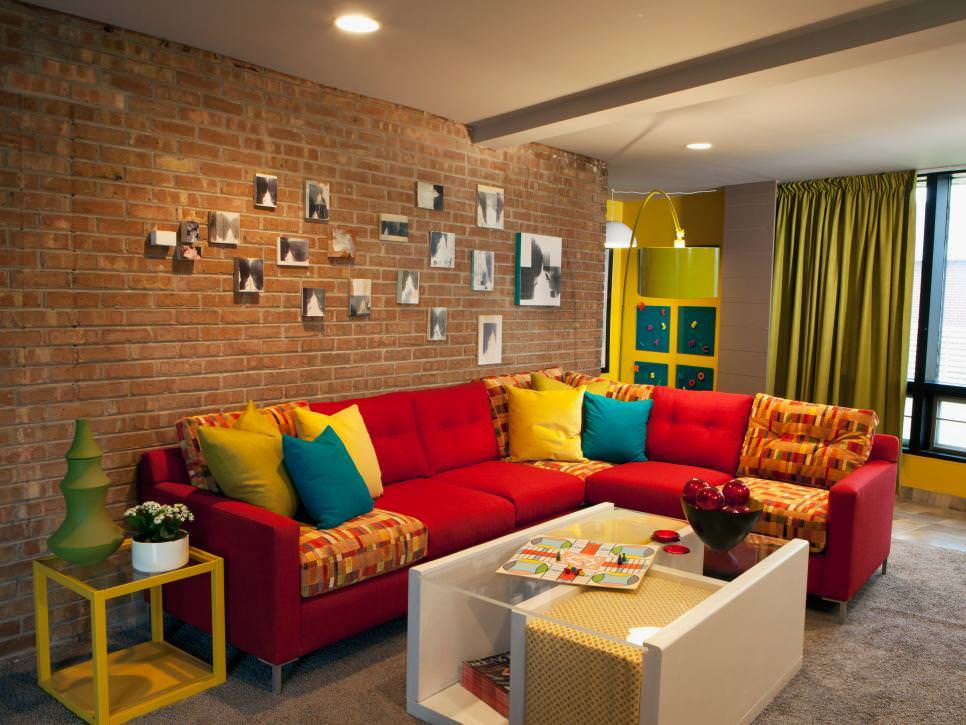 Living Room With Brick Wall design