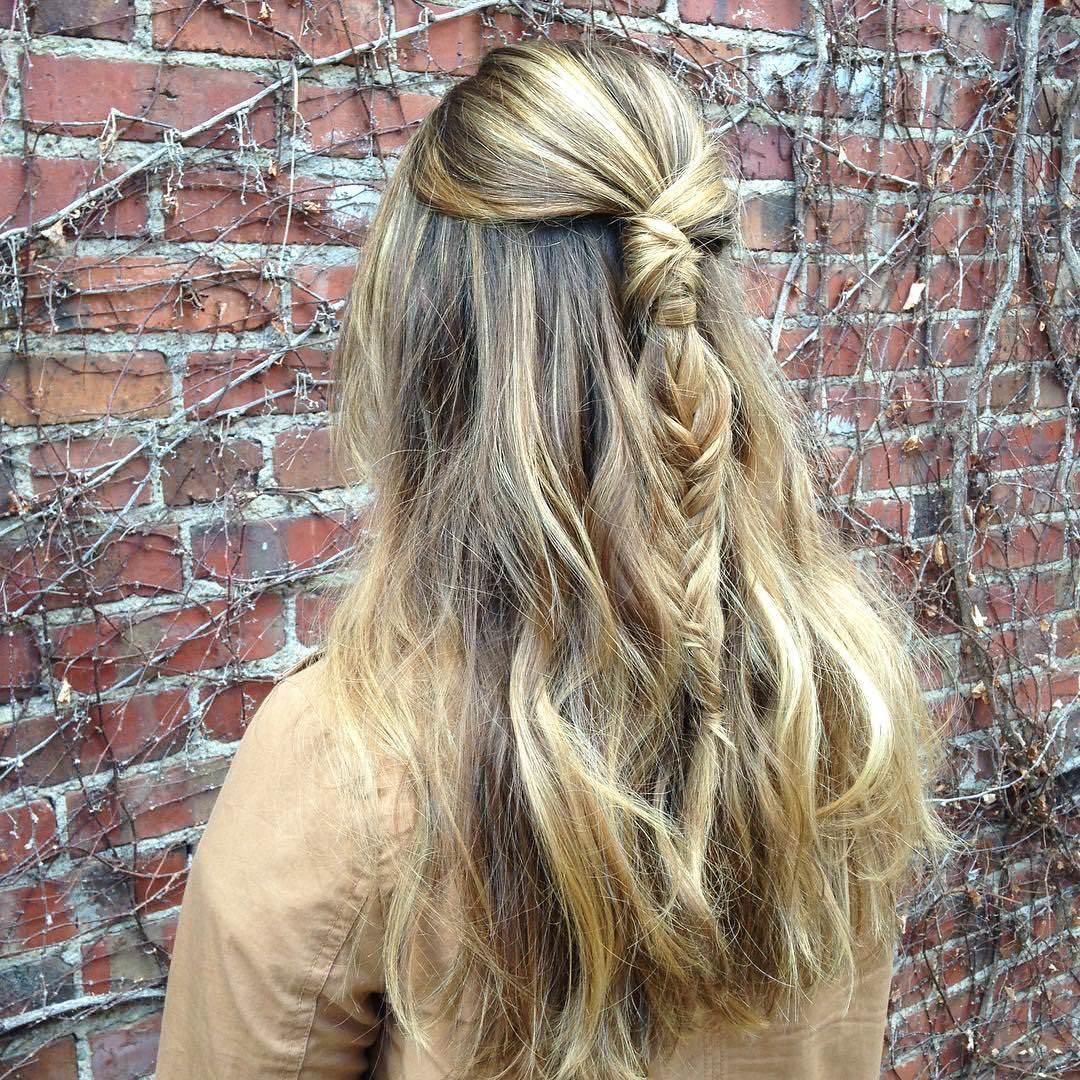 gold color fishtail braid