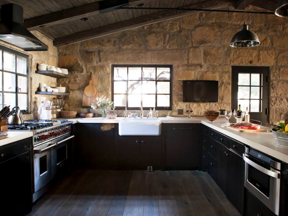 transitional kitchen with stone walls design