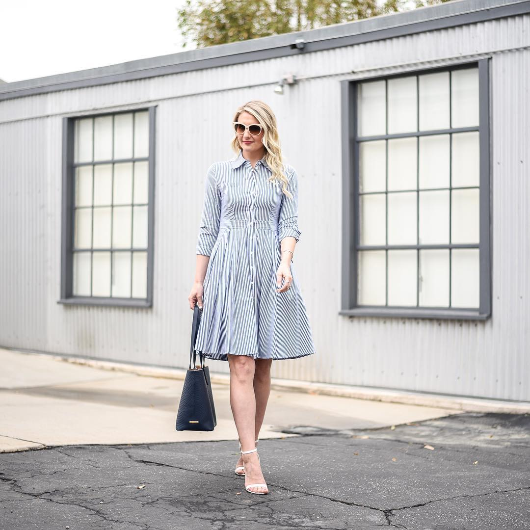 Grey Lines Fit and Flare Dresses