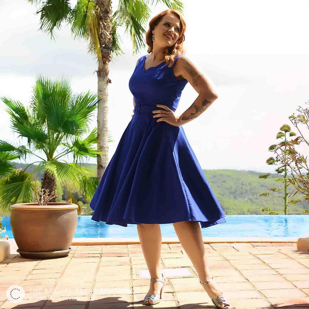 Blue Fit and Flare Dresses