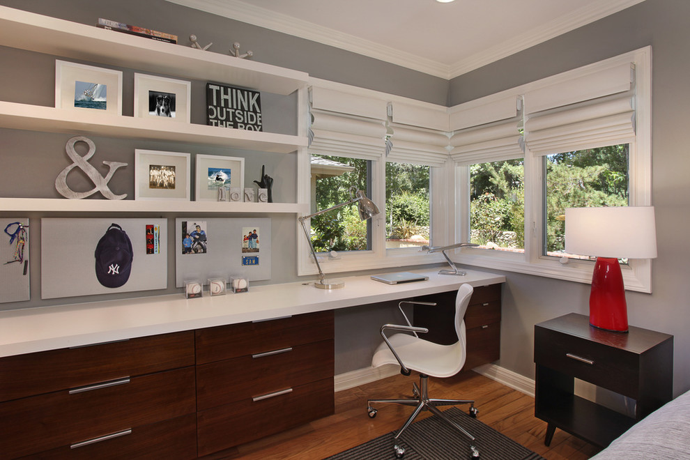 Classy Gray Home Office Furniture Design