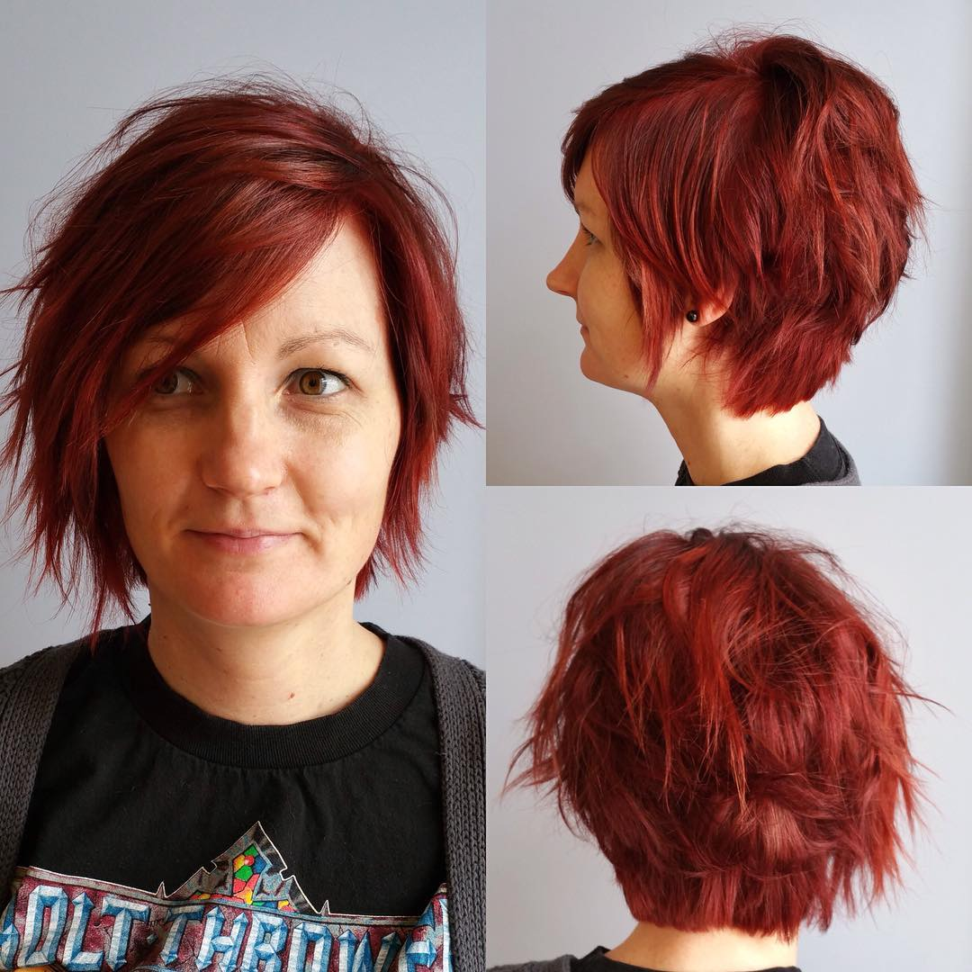 red colored short bob